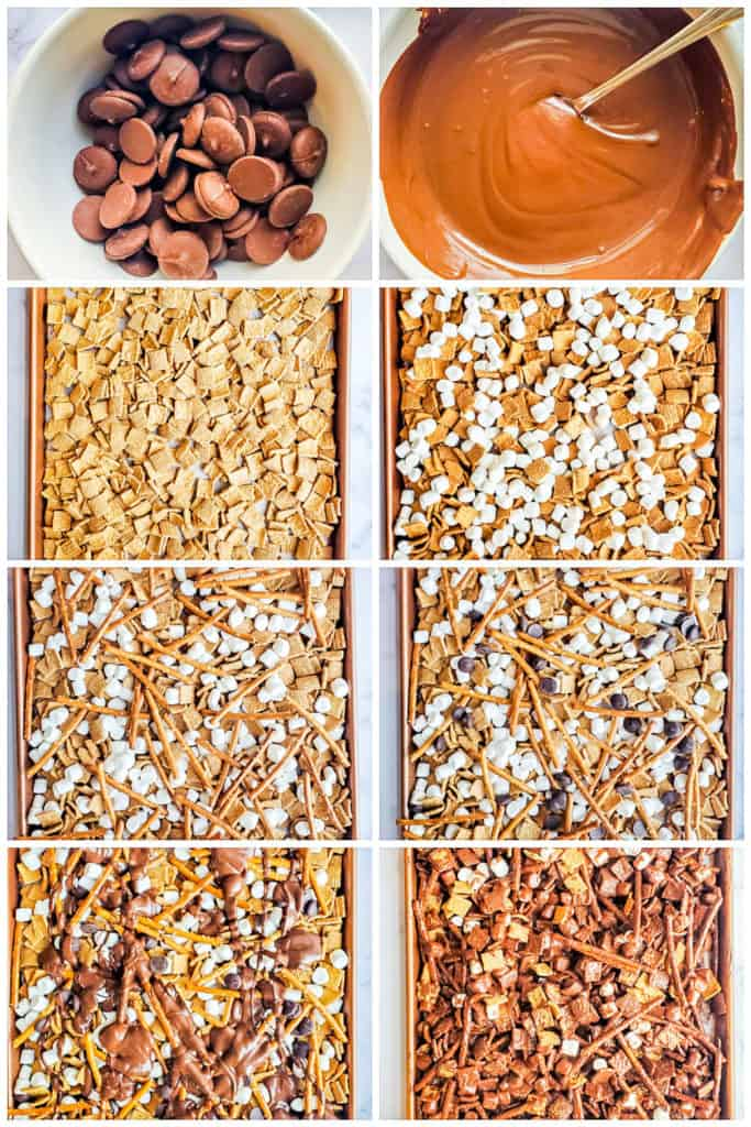 Prep image collage showing how to make s'mores mix from start to finish.