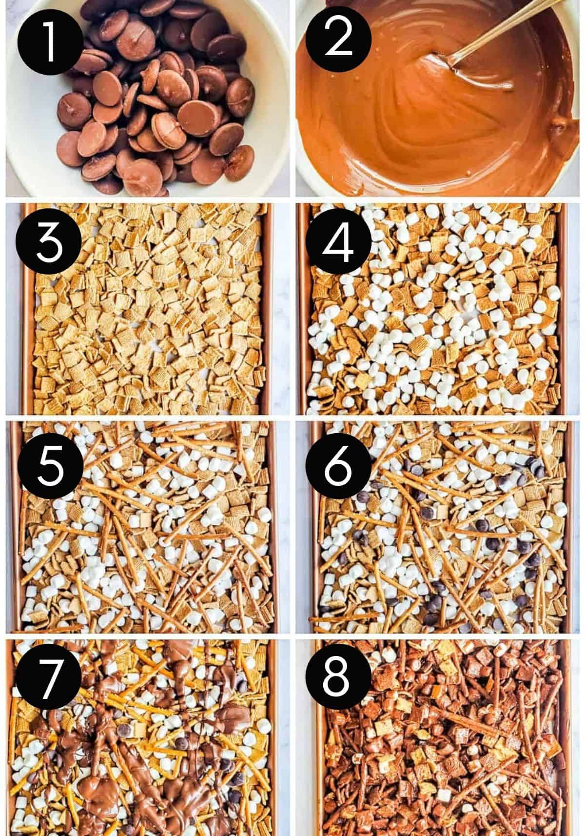 Prep image collage with numbers showing how to make snack mix.