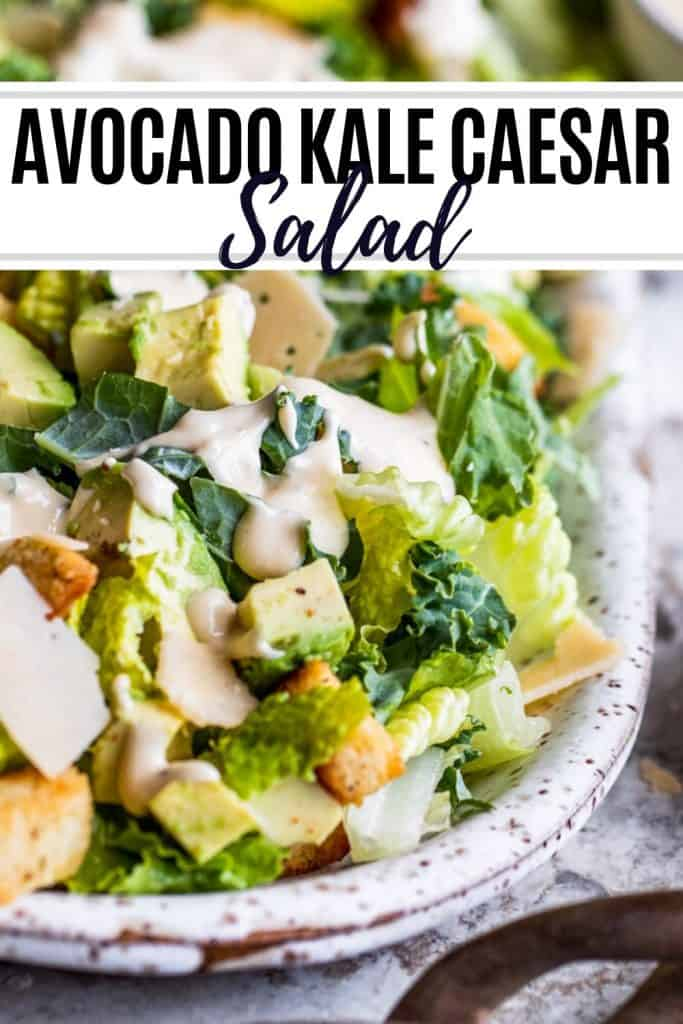 Kale caesar salad pin with text overlay.