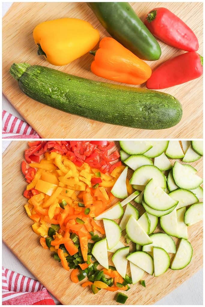 Two images showing whole veggies then the veggies chopped.