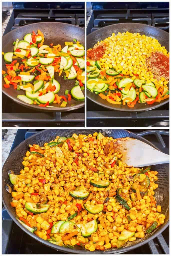 Three prep images showing the corn salad being cooked.