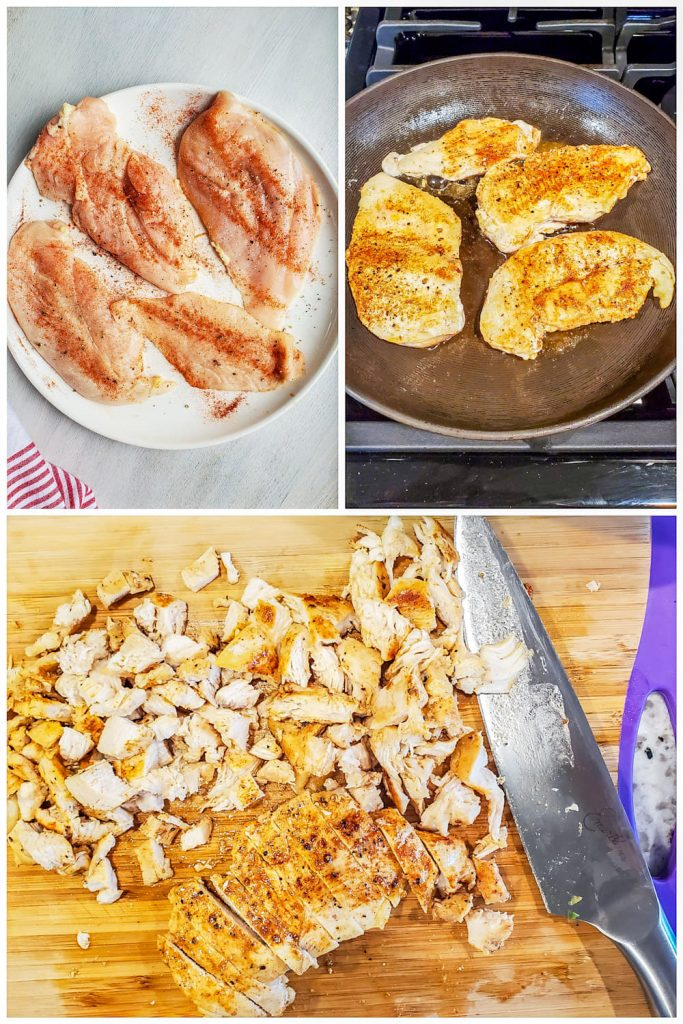Prep image collage showing chicken being seasoned, cooked then chopped.