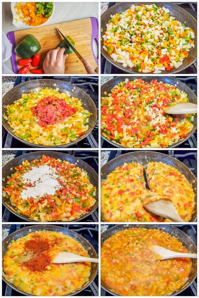 Prep image collage showing veggies being prepped and then gravy being made in black skillet.