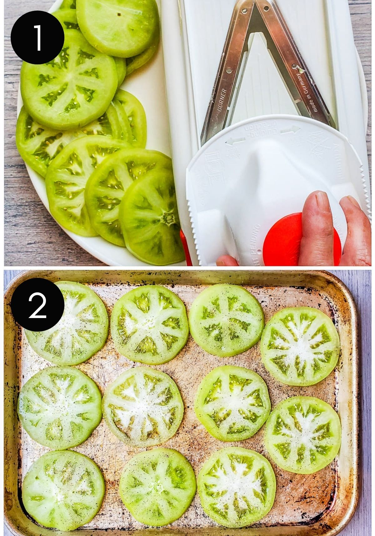 Green tomatoes being sliced with mandolin and seasoned.