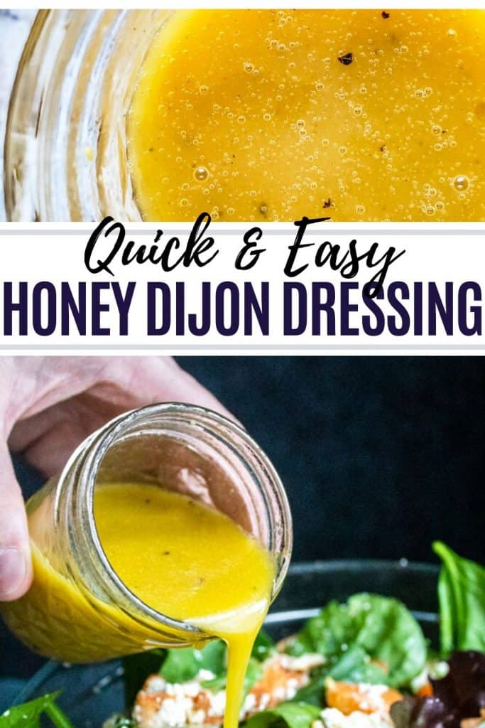 Honey Dijon dressing pin with two images and black text overlay.