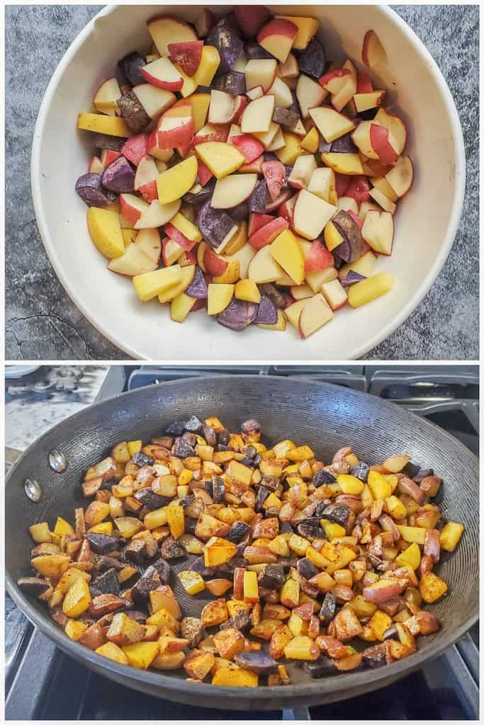 Two prep images showing potatoes being cooked.