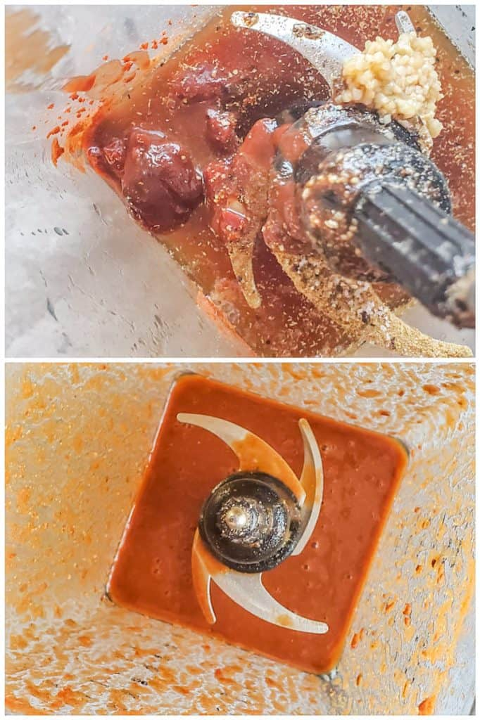 Prep image showing sauce for beef being made in a blender.