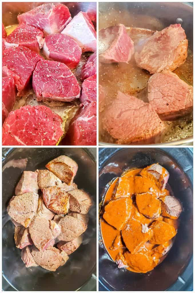 Prep image showing four images of beef being browned then added to a large slow cooker.