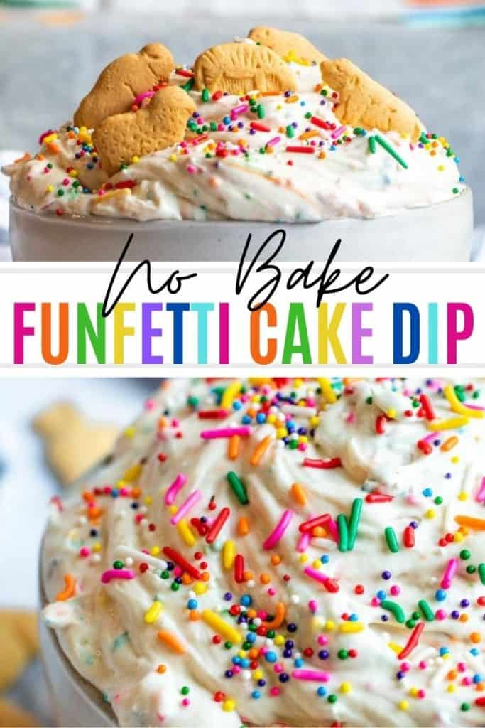 Pin for cake batter dip with two images and white and rainbow text in the middle.