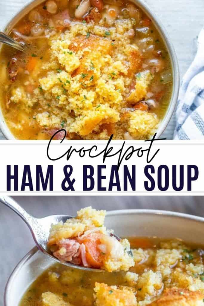 Pin for ham and bean soup white two images and white and black text overlay.
