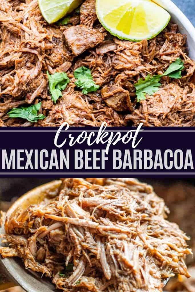 Two images of crockpot beef with white and blue text overlay.