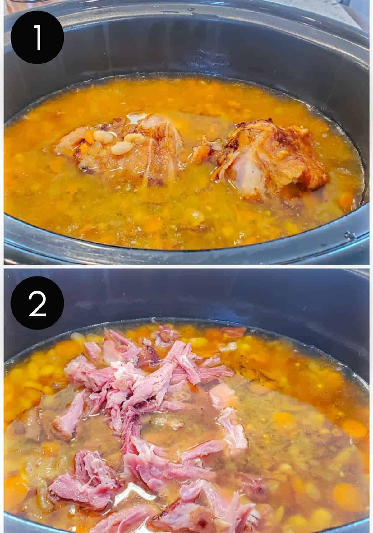Ham and bean soup prep images in crockpot.