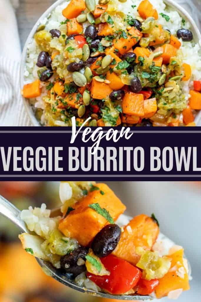 Pin for burrito bowl with two images and white and dark blue text overlay in the middle.