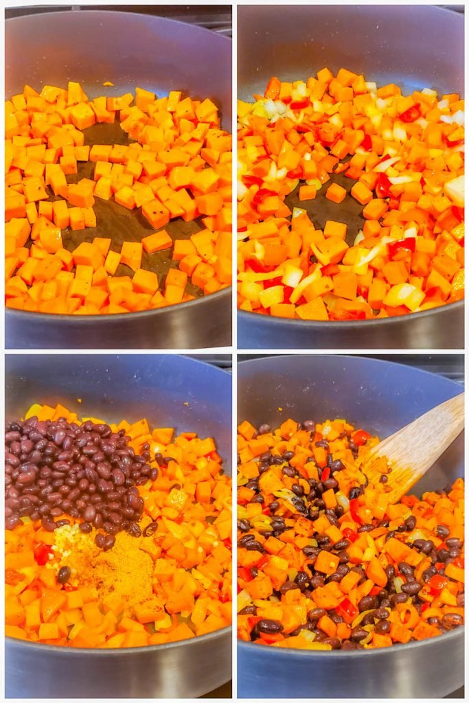 Prep image showing four images of veggies being cooked in large black skillet.