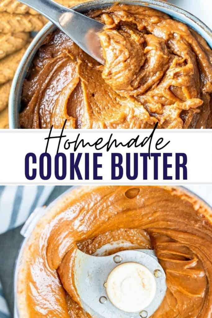 Pin for cookie butter with white and black text overlay.