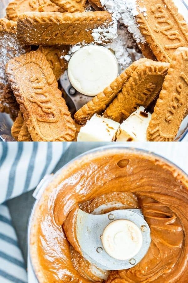 Prep image shot showing cookie spread ingredients in blender then blender.