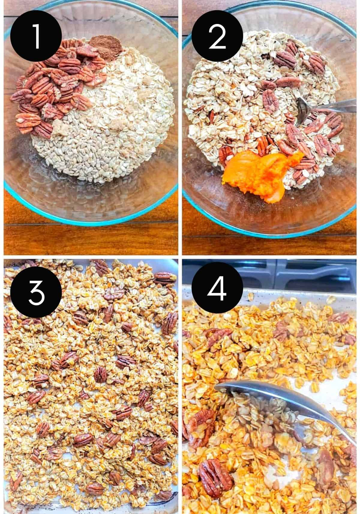 Four prep image collage showing granola being prepped and cooked.