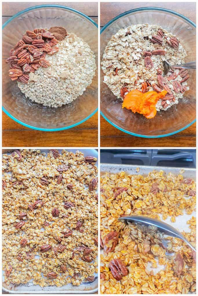 Prep image showing granola being made in four images.