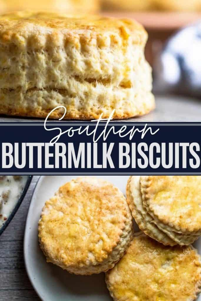 Pin for buttermilk biscuits with two images and white and blue text overlay.