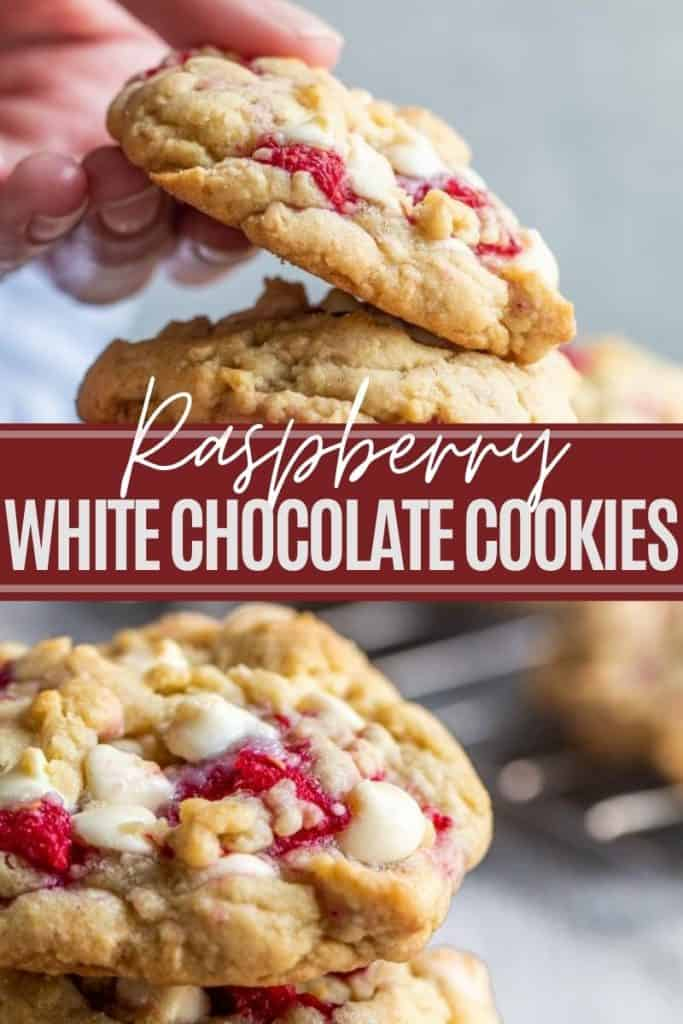 Pin for raspberry cookies with two images and white and red text overlay.