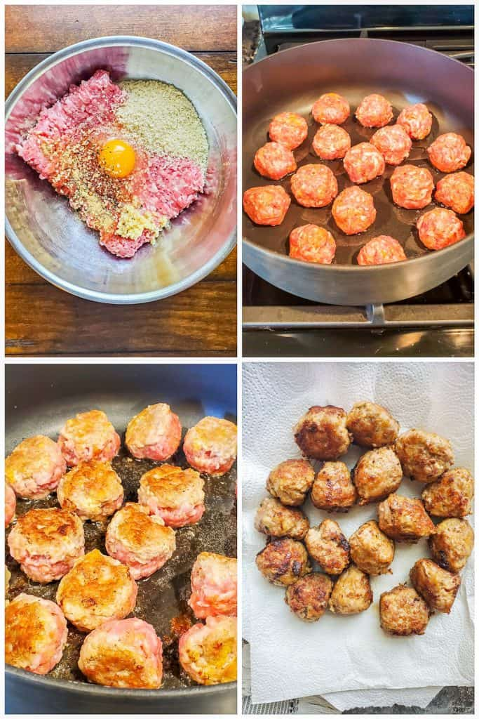 Four prep images showing meatballs being pan in a large pan.