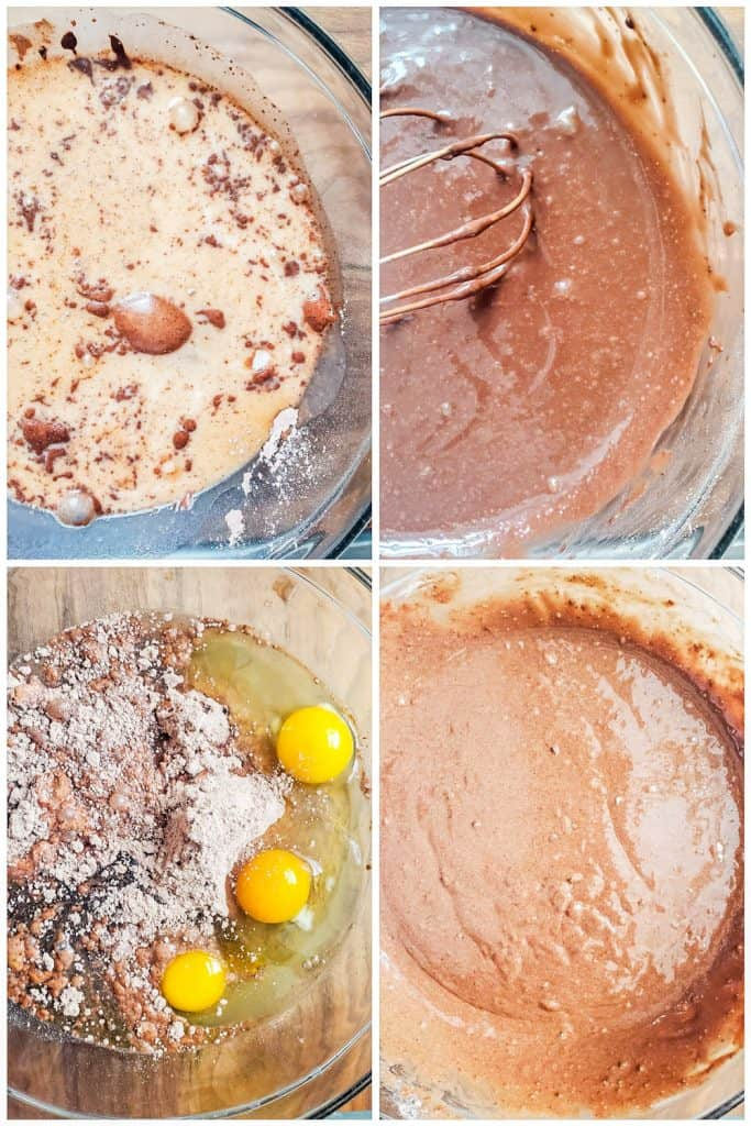 Prep image showing four photo collage of pudding and cake being prepped.