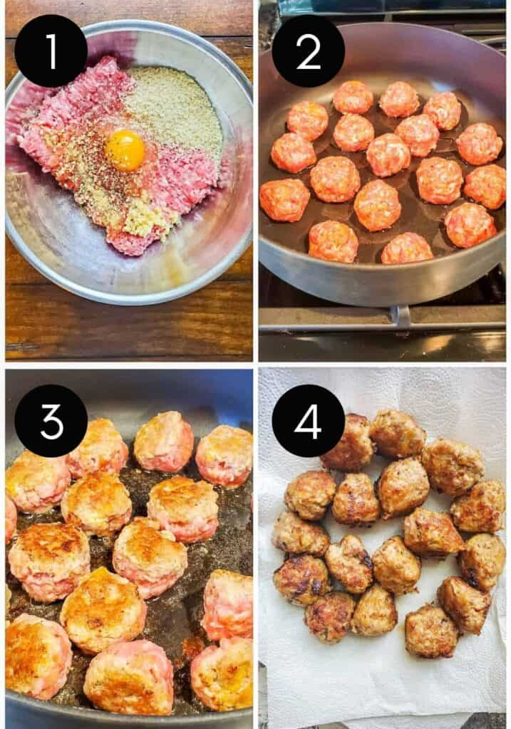 Prep image showing a collage of images of meatballs being made with number overlay.
