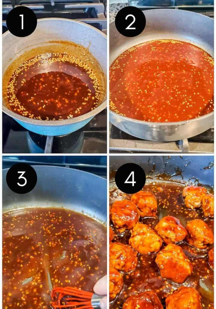 Prep image showing sauce being made in pan then meatballs in sauce.