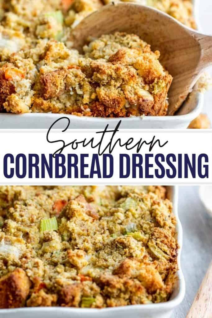Pin for cornbread recipe with two images and white and black text overlay.