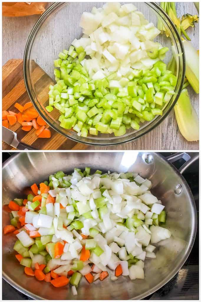 Prep image showing veggie being prepped then cooked.