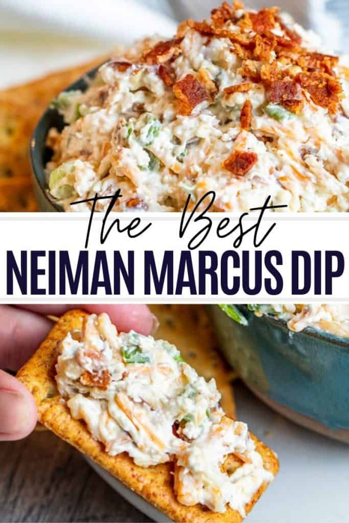 Pin for neiman marcus spread with two images and white and black text overlay.