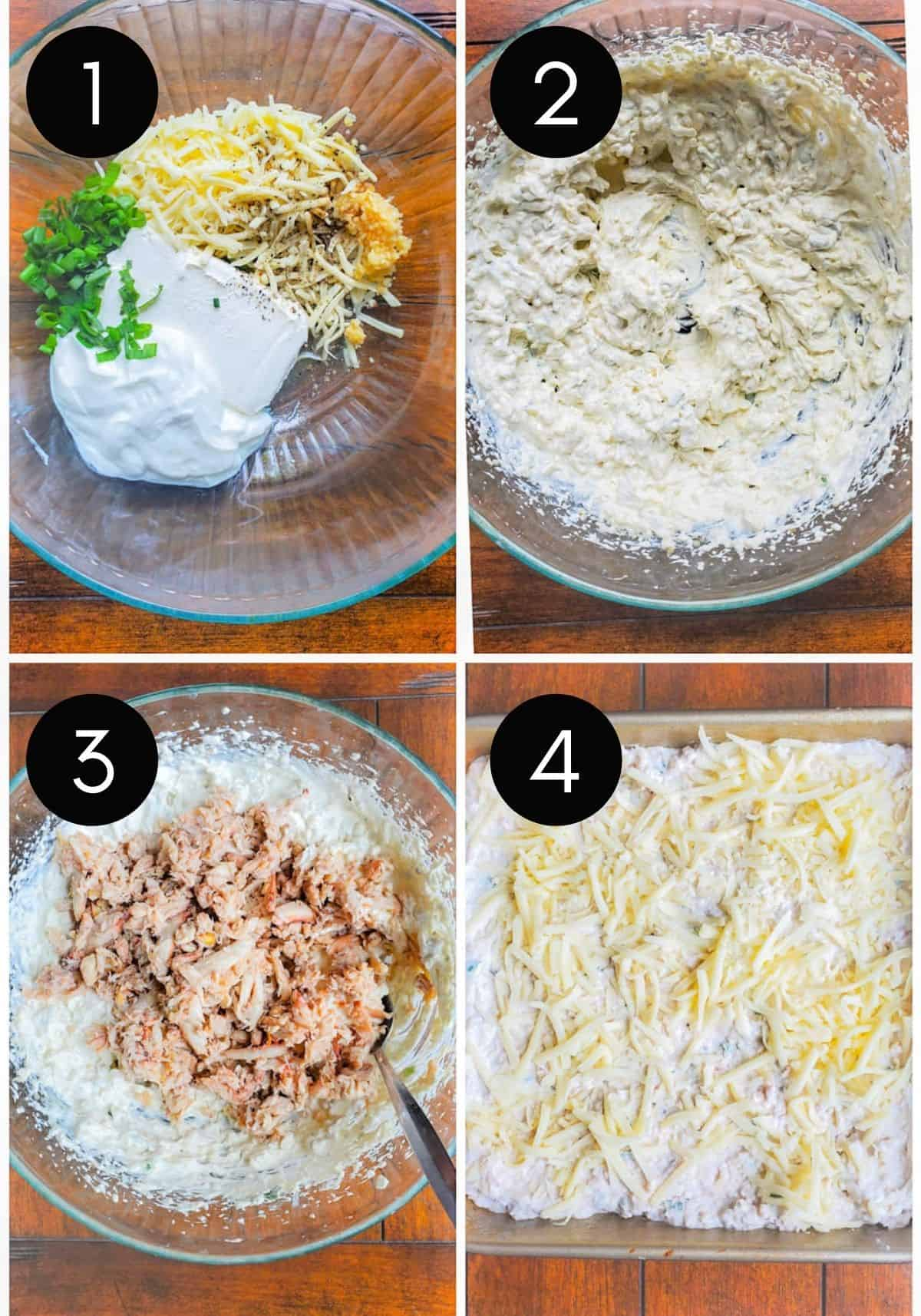 Four prep image collage for crab dip with number overlay.