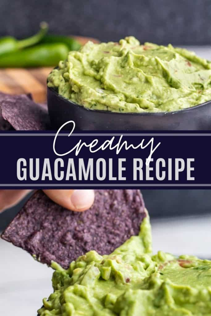 Guacamole pin with two image and white text in the middle.