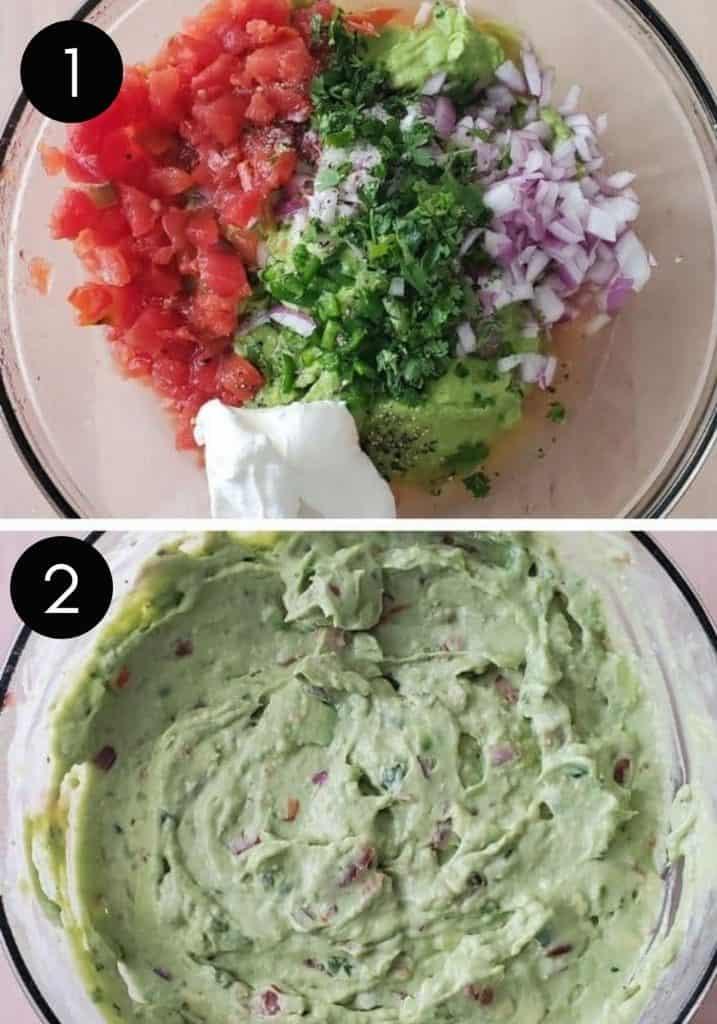 Two prep images with white number showing guacamole being combined in glass bowl.