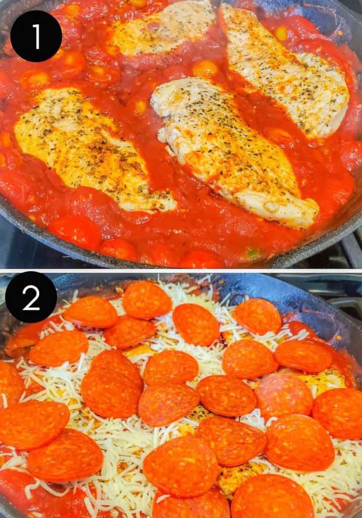 Two prep images of chicken being places in sauce and recipe combined.