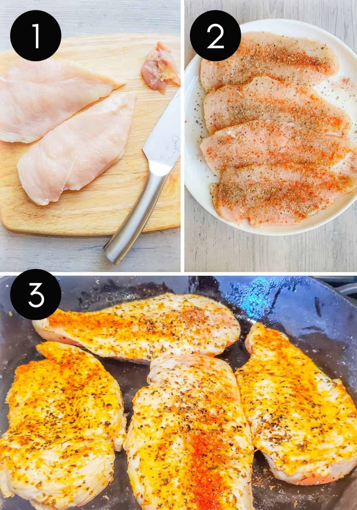 Three prep image collage of chicken being prepped.