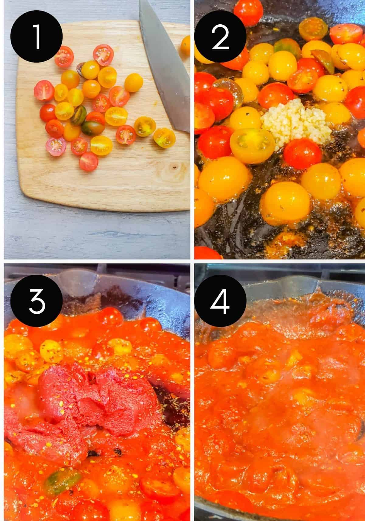 Four prep image collage of tomatoes being prepped and sauce being made.