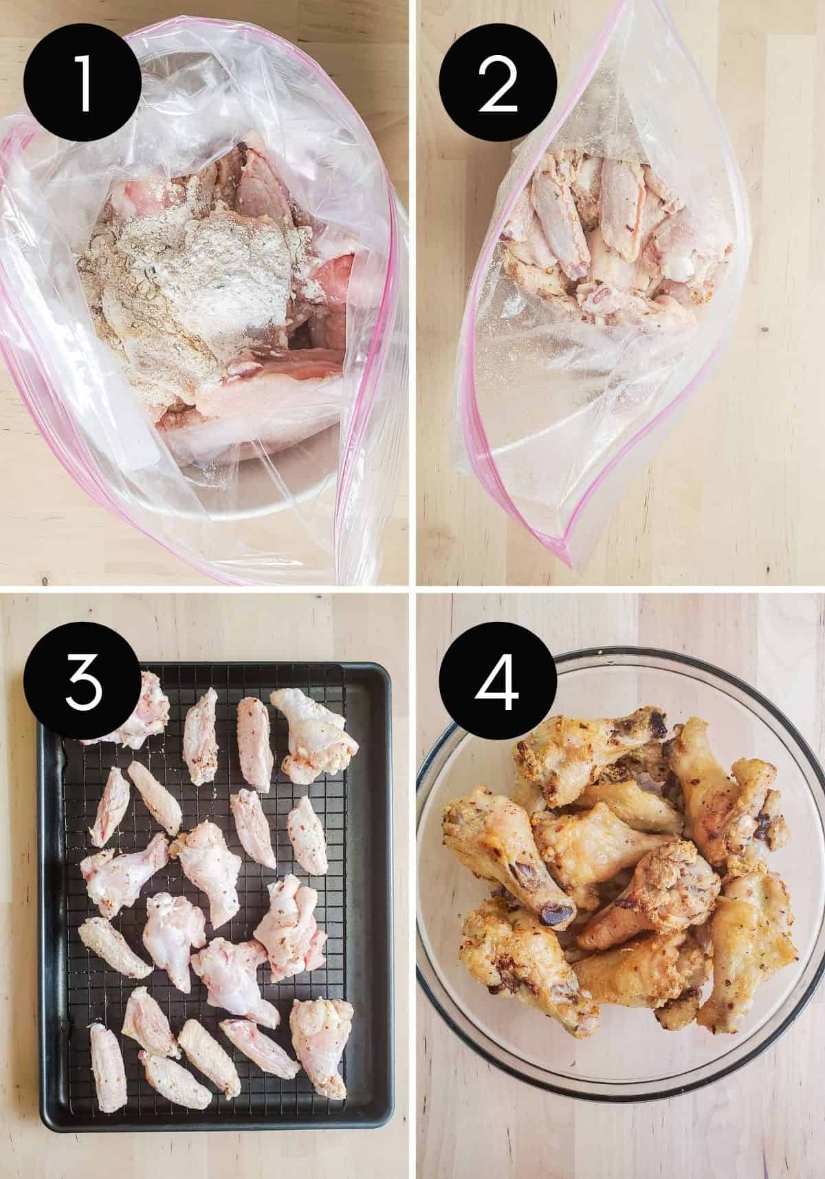 Four pre image collage with numbered pictures of wings being prepped and baked.