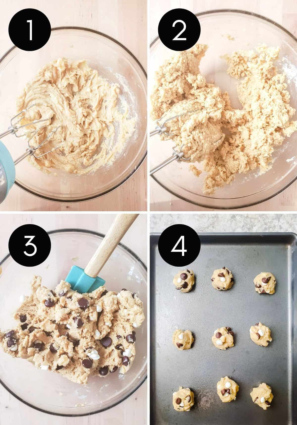 Four prep image collage showing cookie dough be made with number overlay.