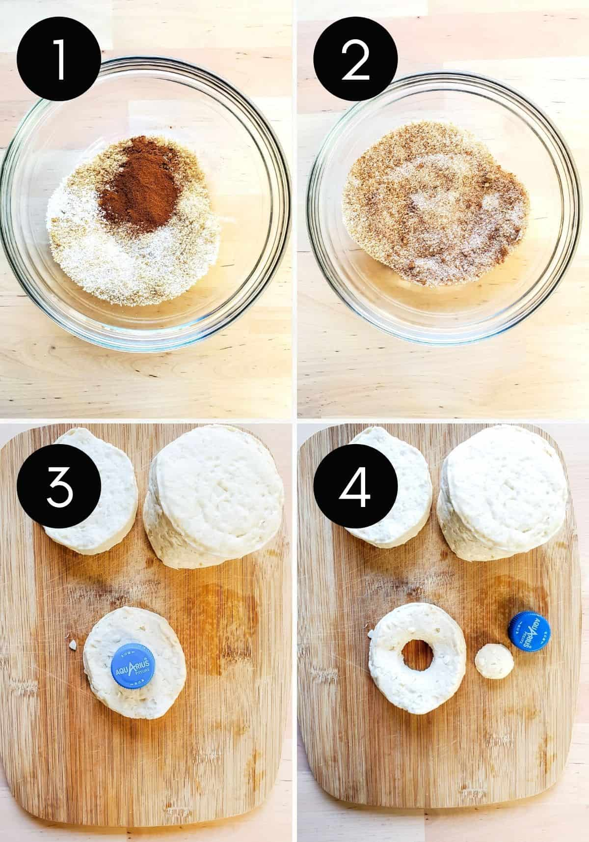 Prep image showing four pictures of cinnamon sugar mix and donuts being prepped.