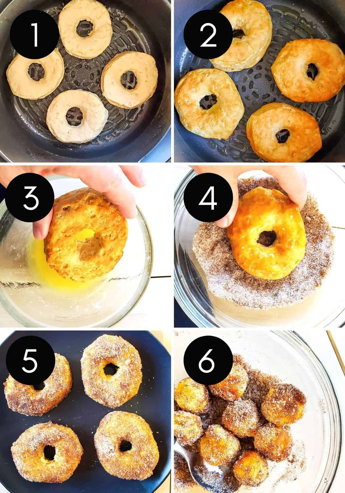 Six prep image collage showing donuts being air fried then coated.
