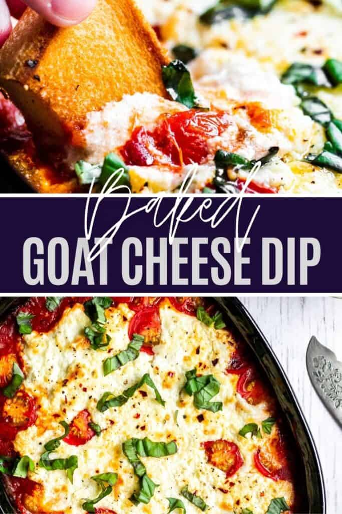 Goat cheese pin with two image and white and dark blue text overlay in the middle.
