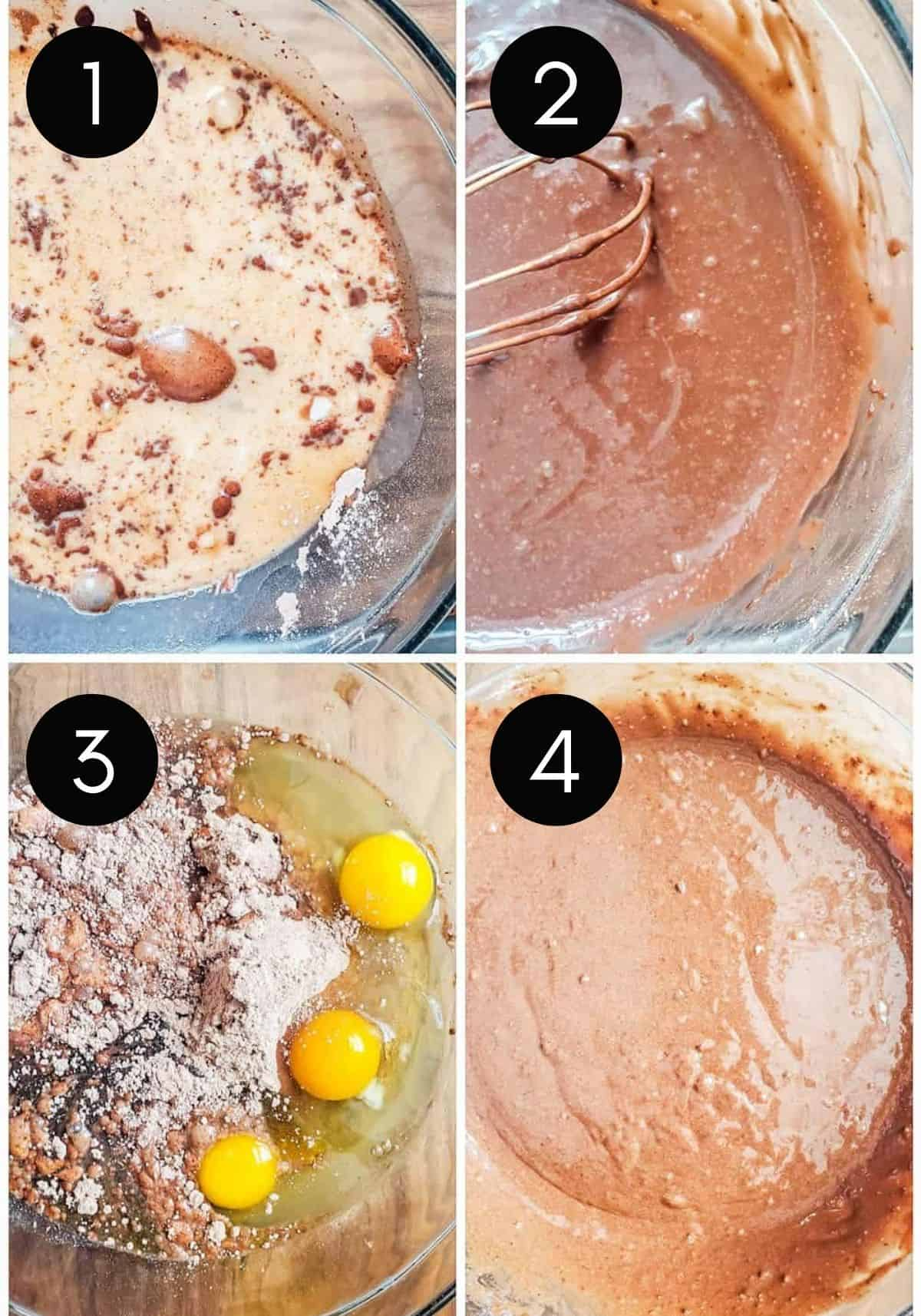Four prep image collage showing cake and pudding be made with four numbered steps.