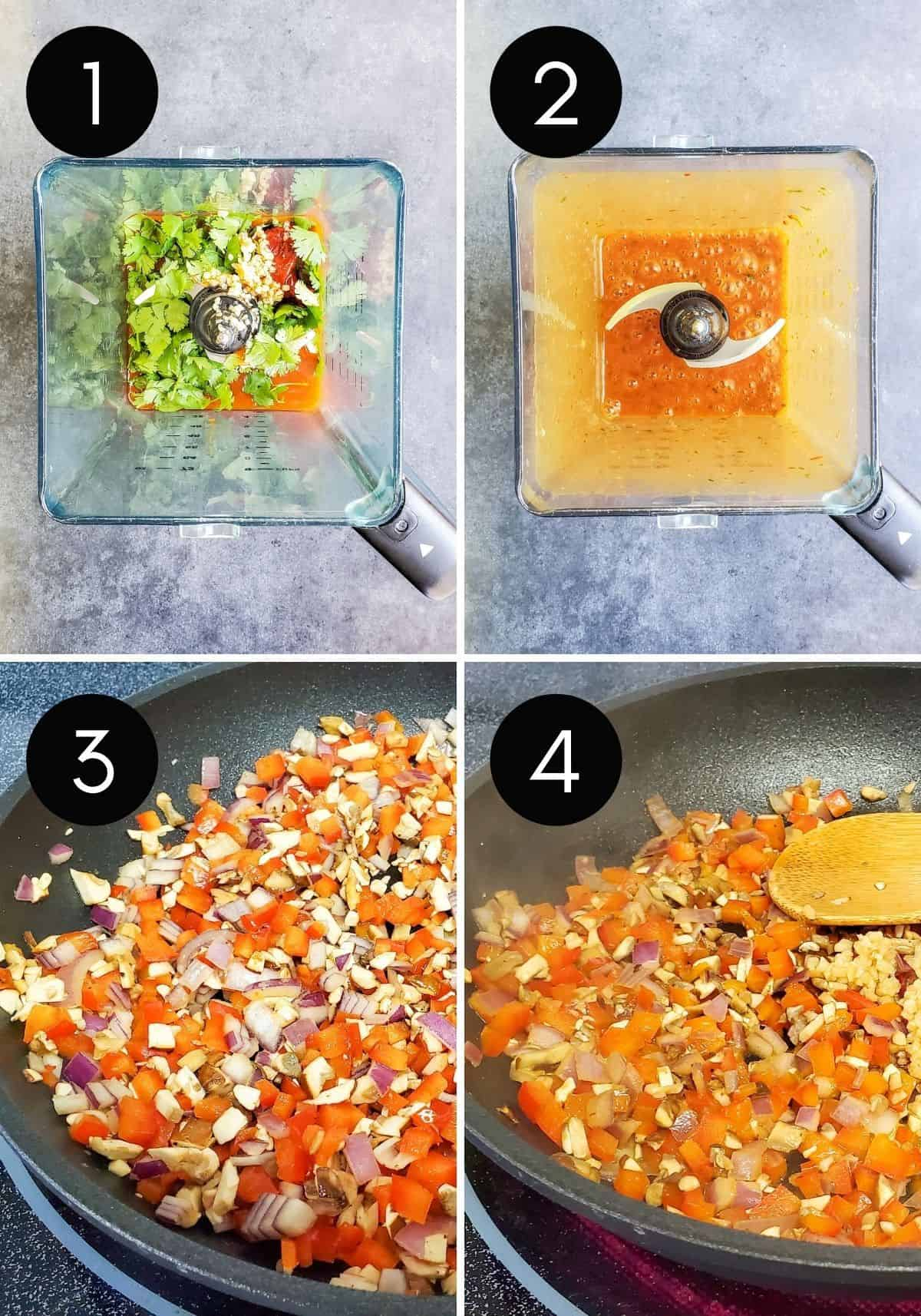 Prep images showing four numbered collage pictures on sauce and veggies being made.