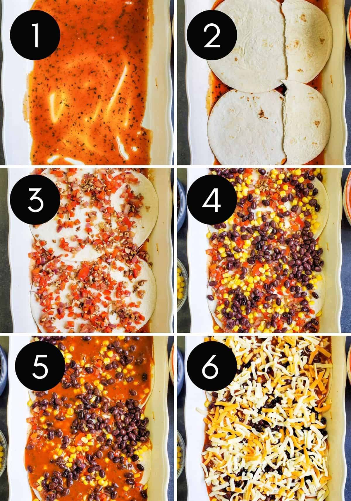 Mexican lasagna being layered in six numbered pictures.