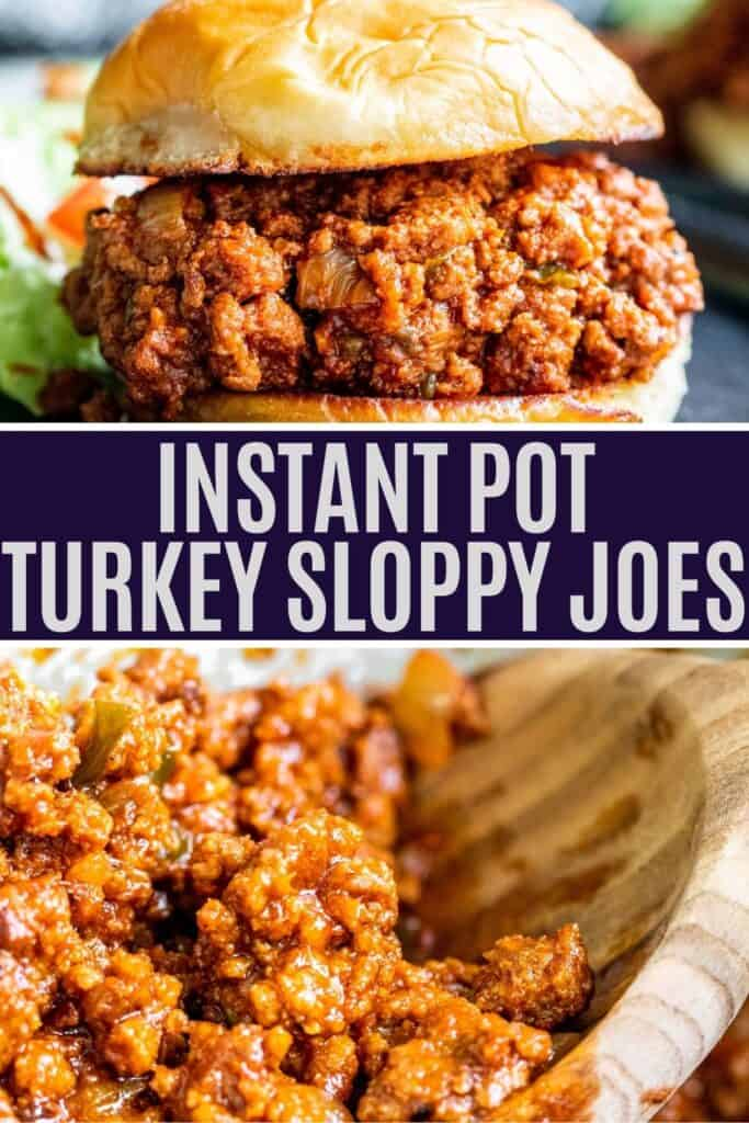 Sloppy joes pin with two images of finished recipe and white and blue text overlay.