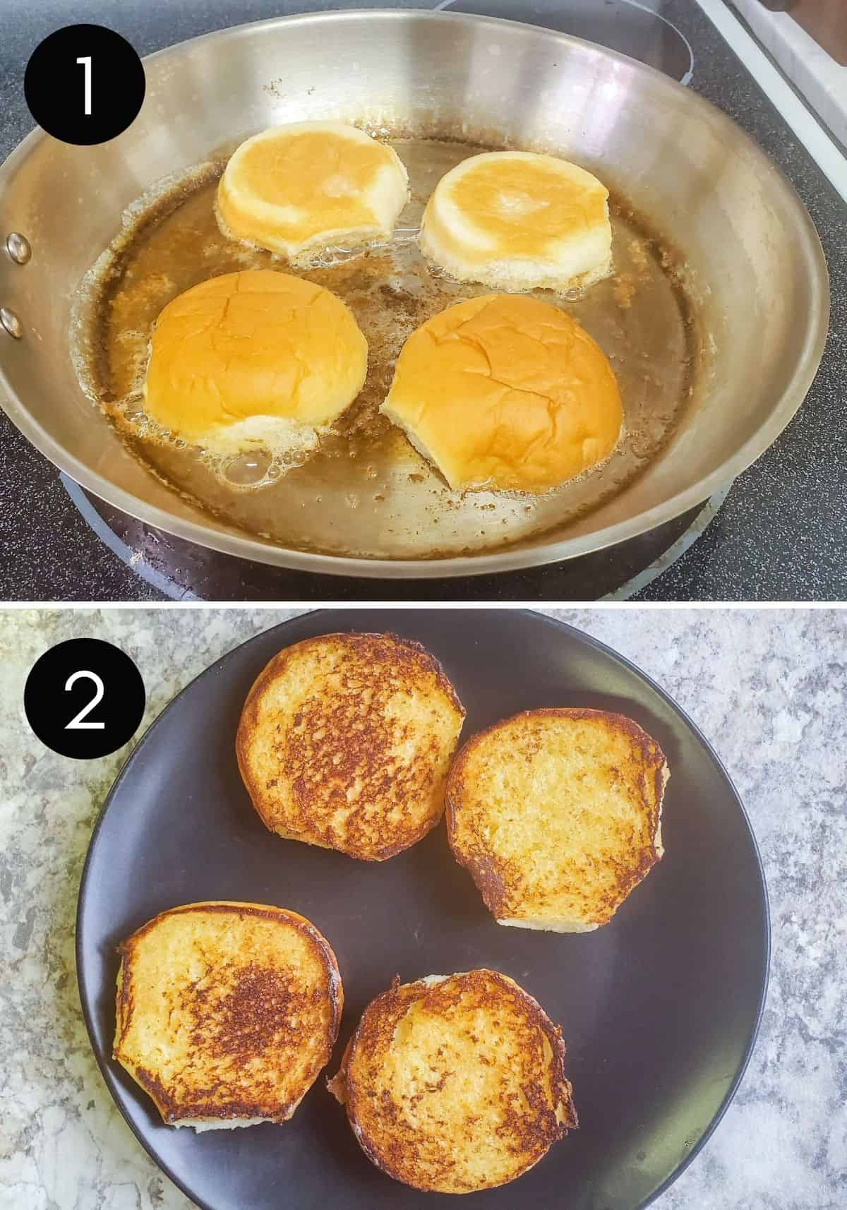 Two prep images of buns being toasted in pan.