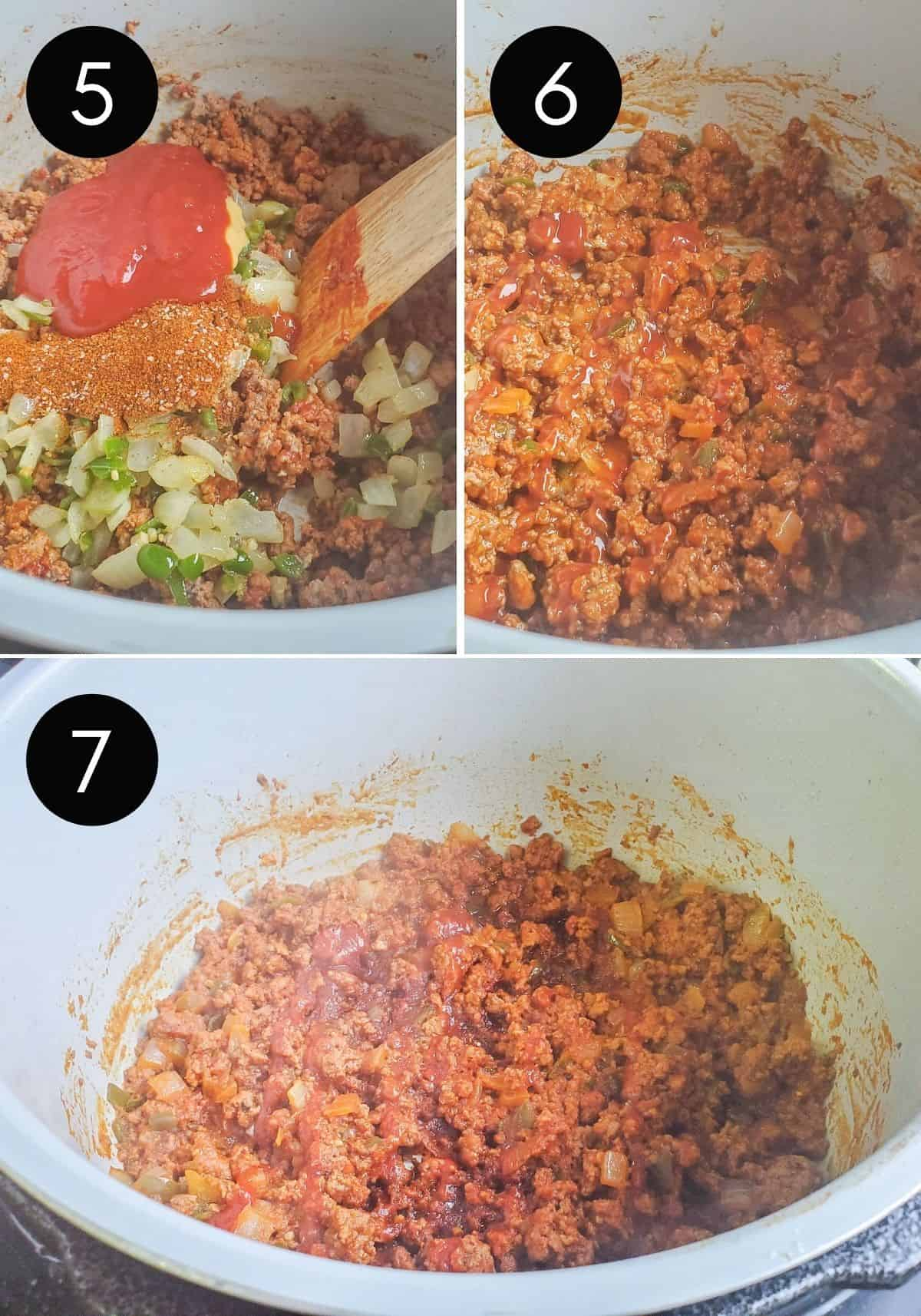 Prep image showing three images of recipe being combined then pressure cooked.