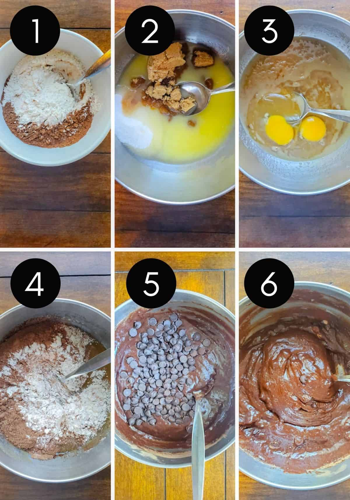 Prep images showing brownies being made with numbered pictures.