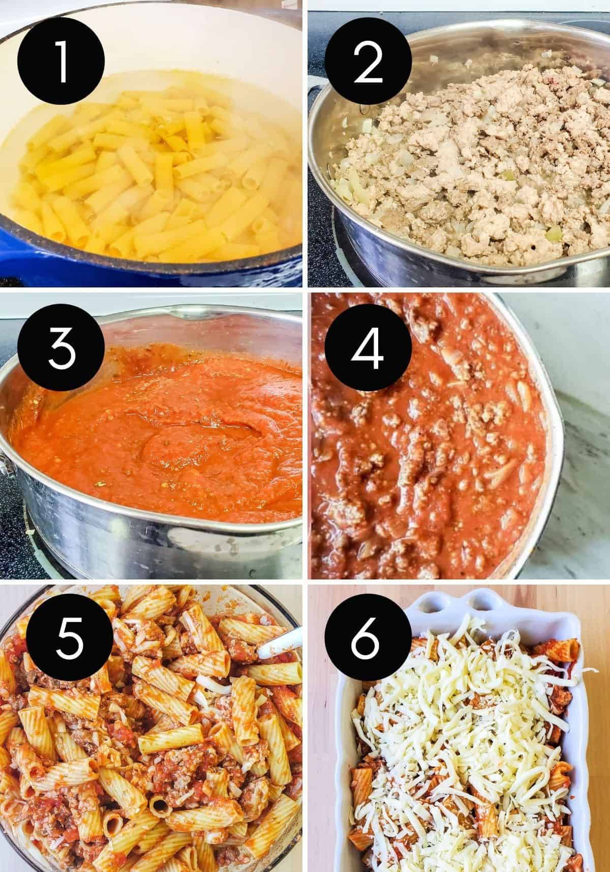 Prep image for baked mostaccioli with six numbered images.